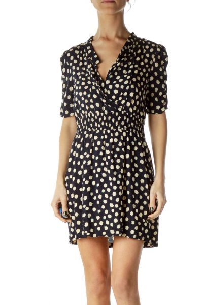 Navy Polka-Dot A-Line Dress