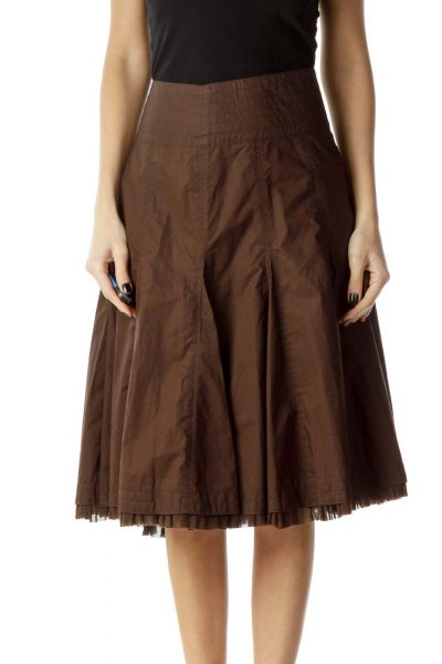 Brown Pleated A-Line Skirt