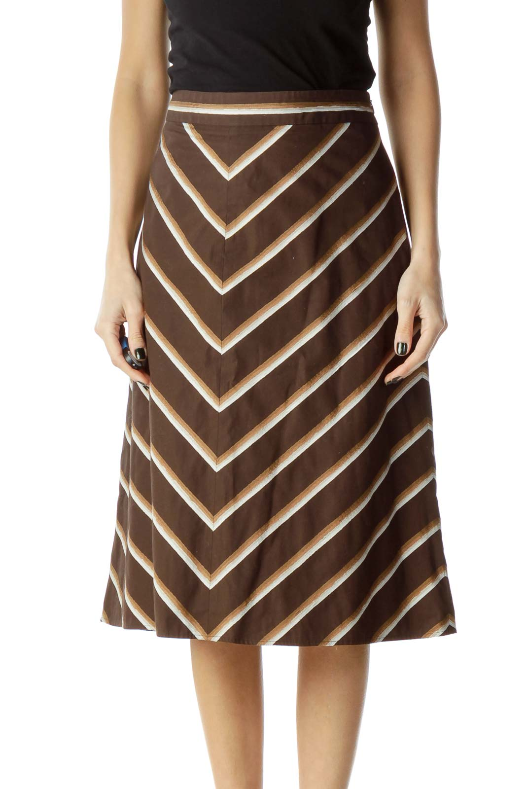 Brown Chevron A-Line Skirt