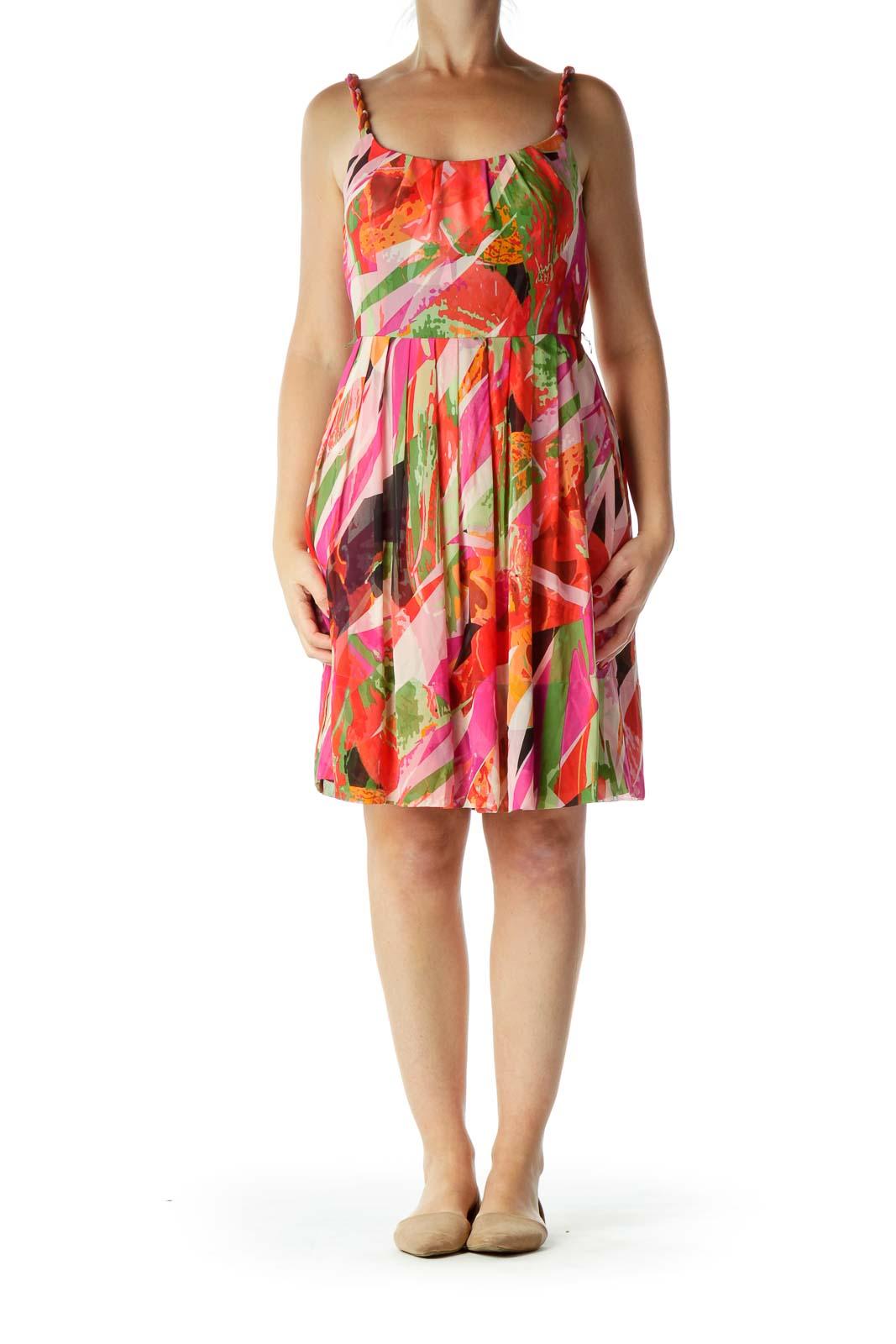 Orange Print Silk A-Line Dress