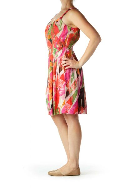 Orange Print Silk A-Line Dress