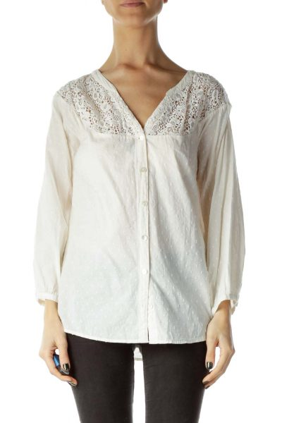 Cream Lace 3/4 Sleeve Blouse