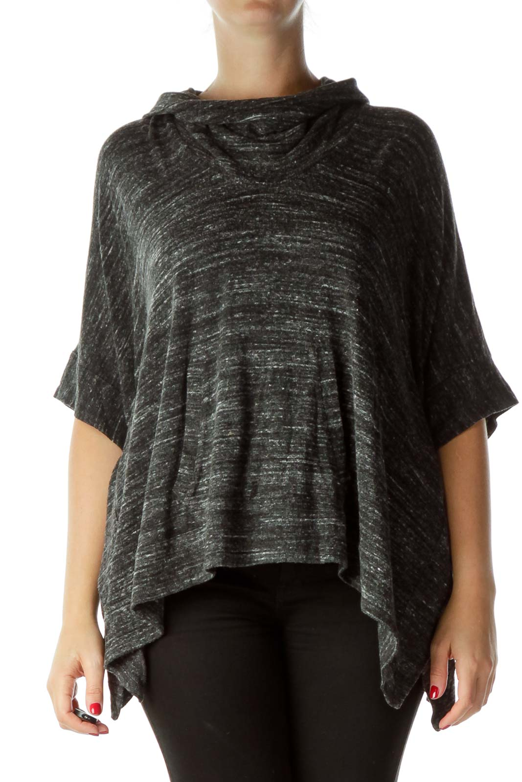 Gray Cowl Neck Poncho