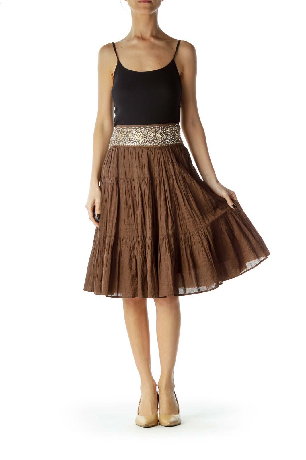Brown Gold Sequined A-Line Skirt