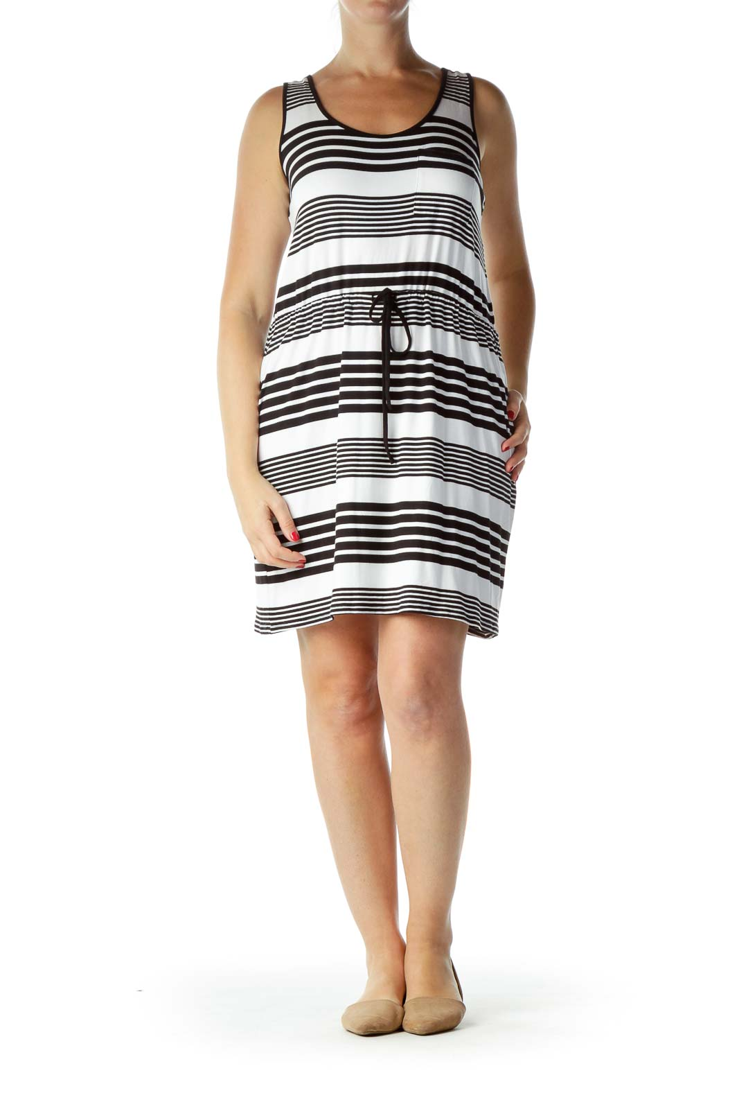 Black White Striped Jersey Dress