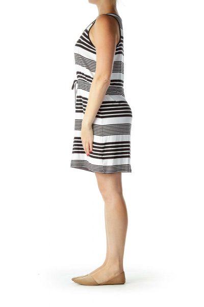 Black White Striped Jersey Dress