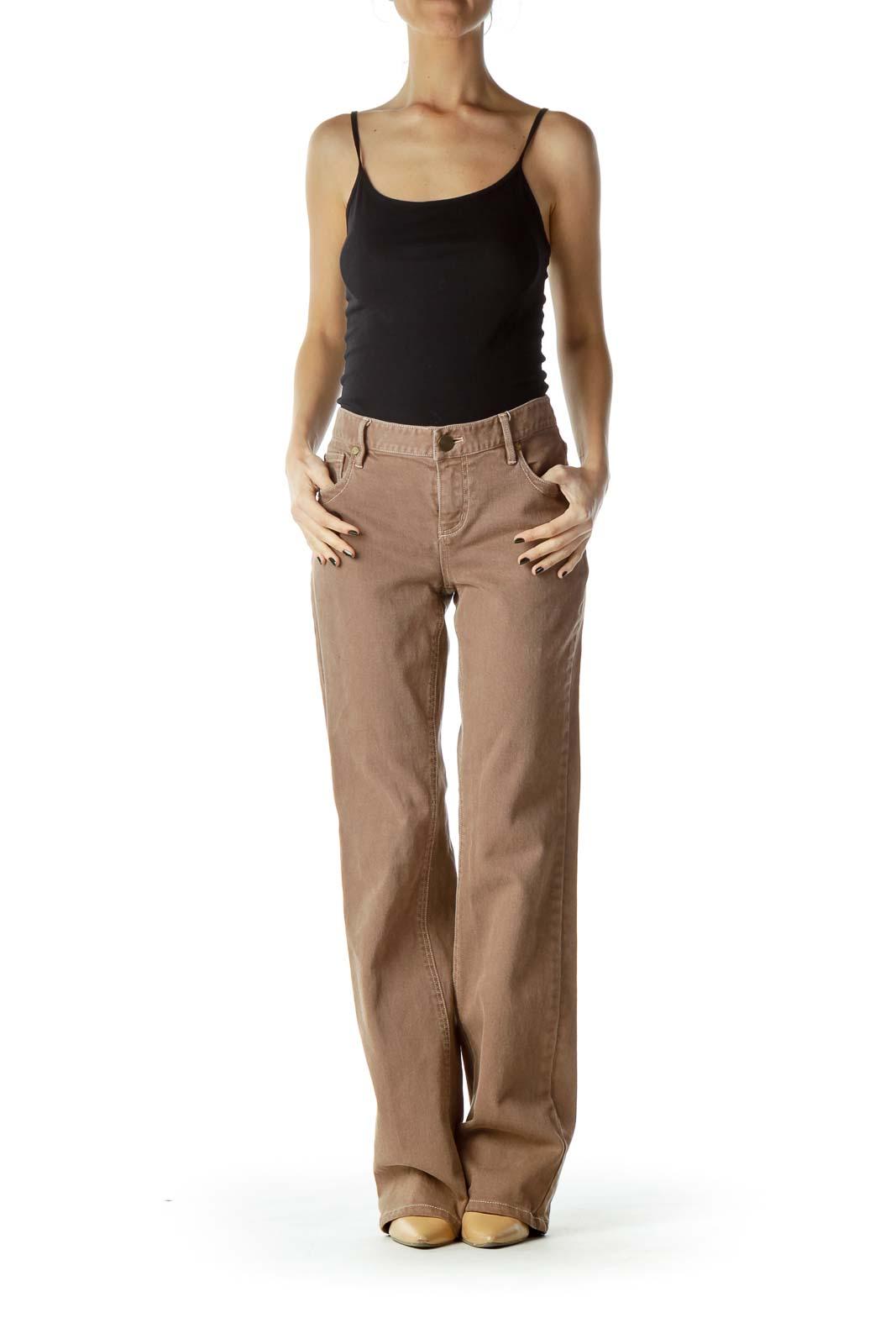 Brown Denim Flared Jeans