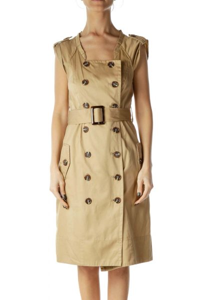 Beige Buttoned Shirt Dress