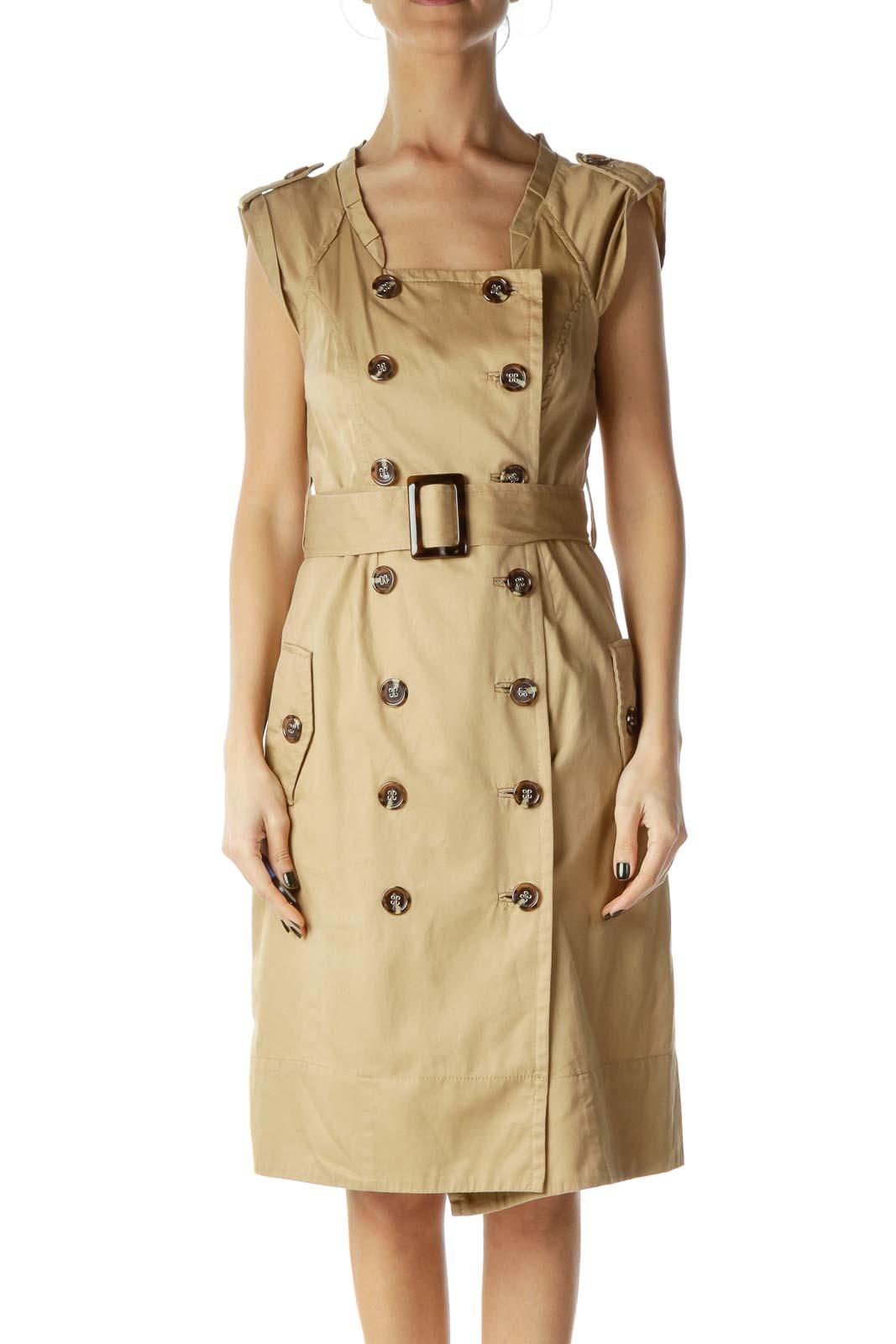 Beige Buttoned Shirt Dress
