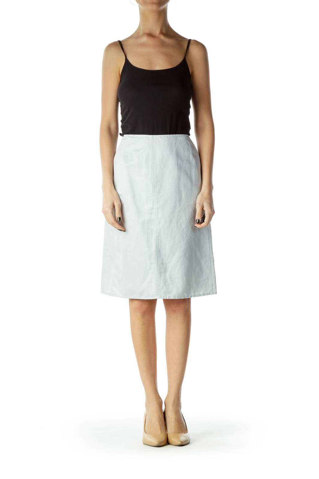 Blue Linen Pencil Skirt