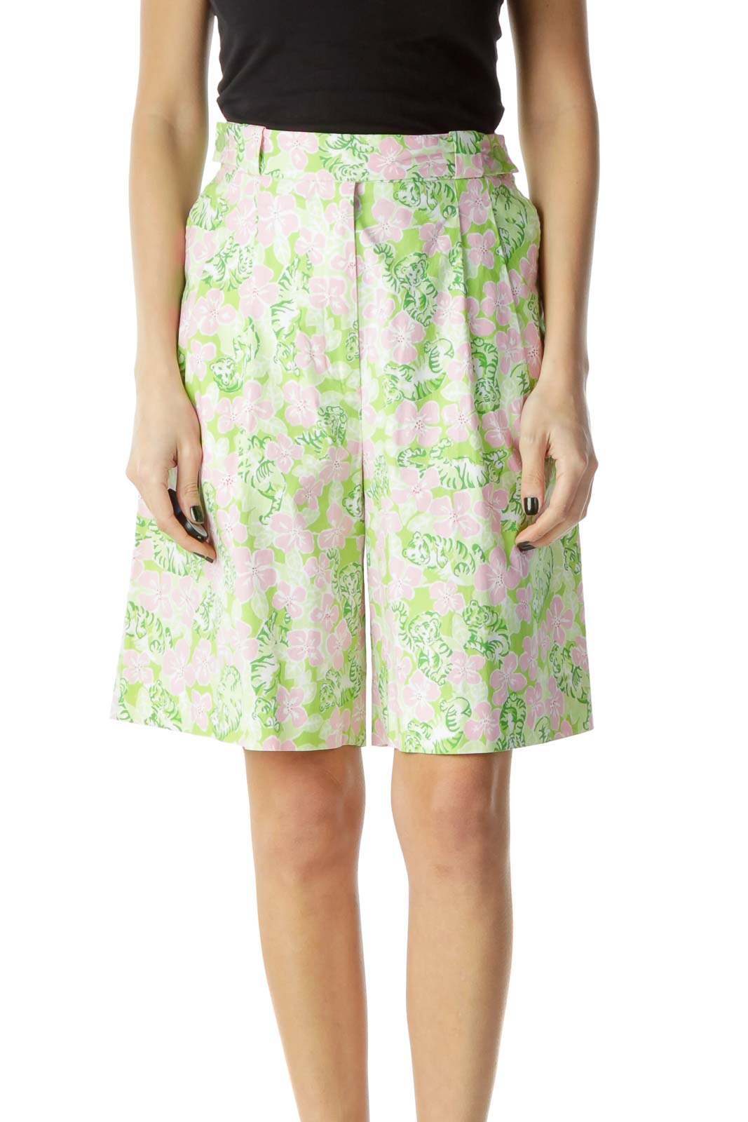 Pink Green Flower Prink Shorts