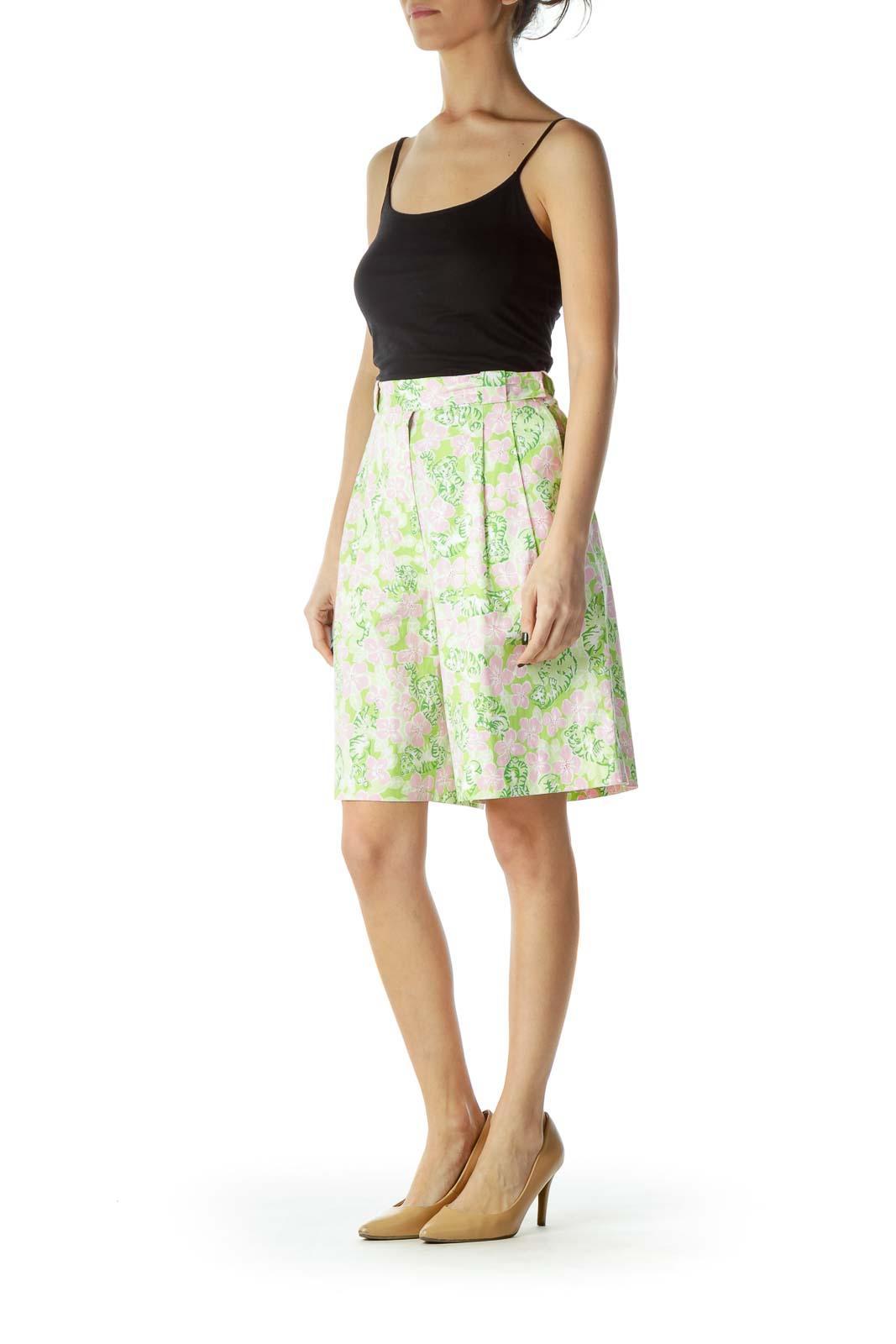 Pink Green Flower Prink Shorts