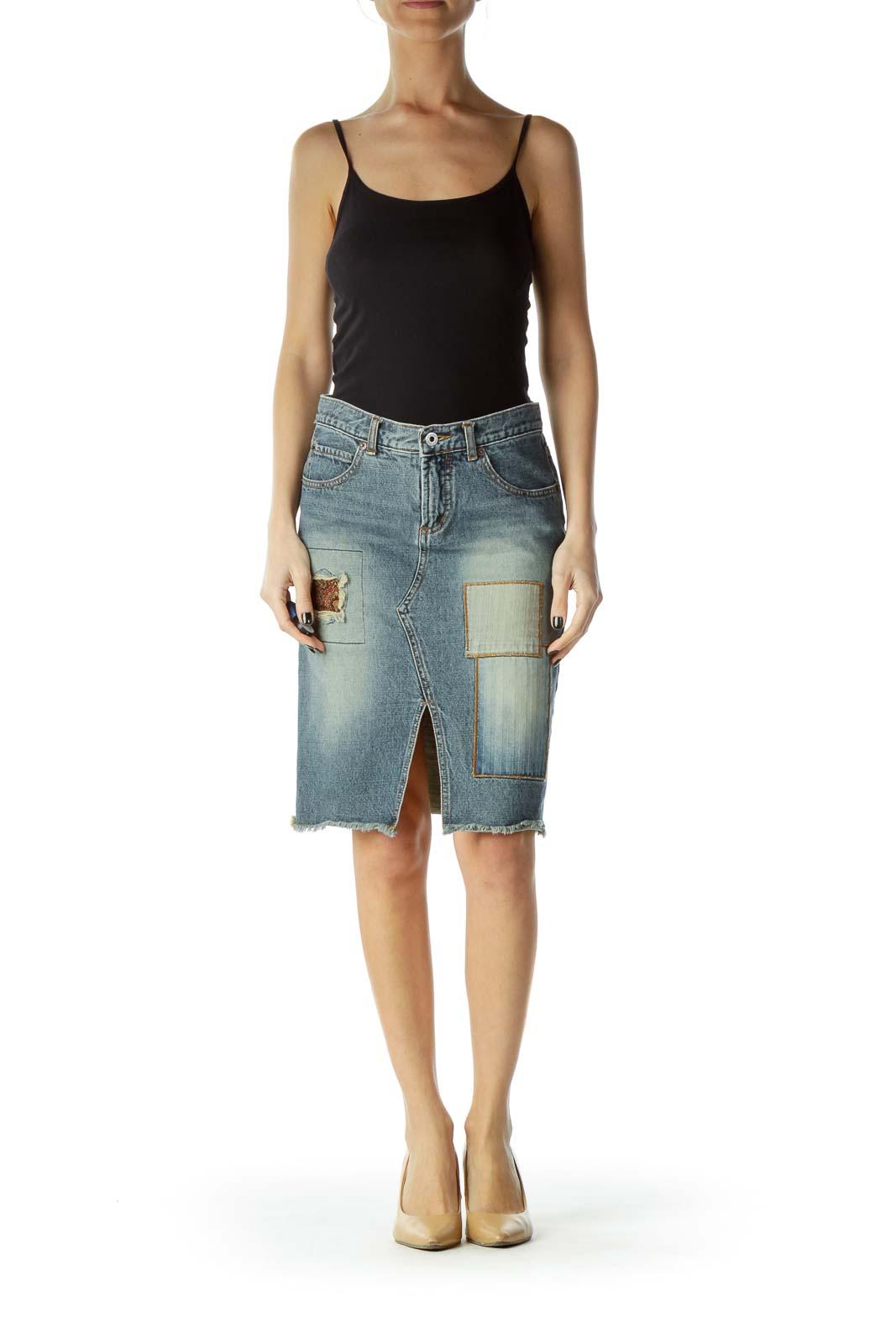 Blue Patched Denim Pencil Skirt
