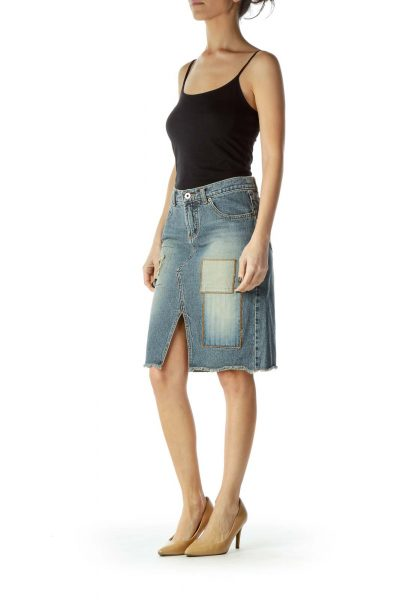 Blue Patched Denim Pencil Skirt