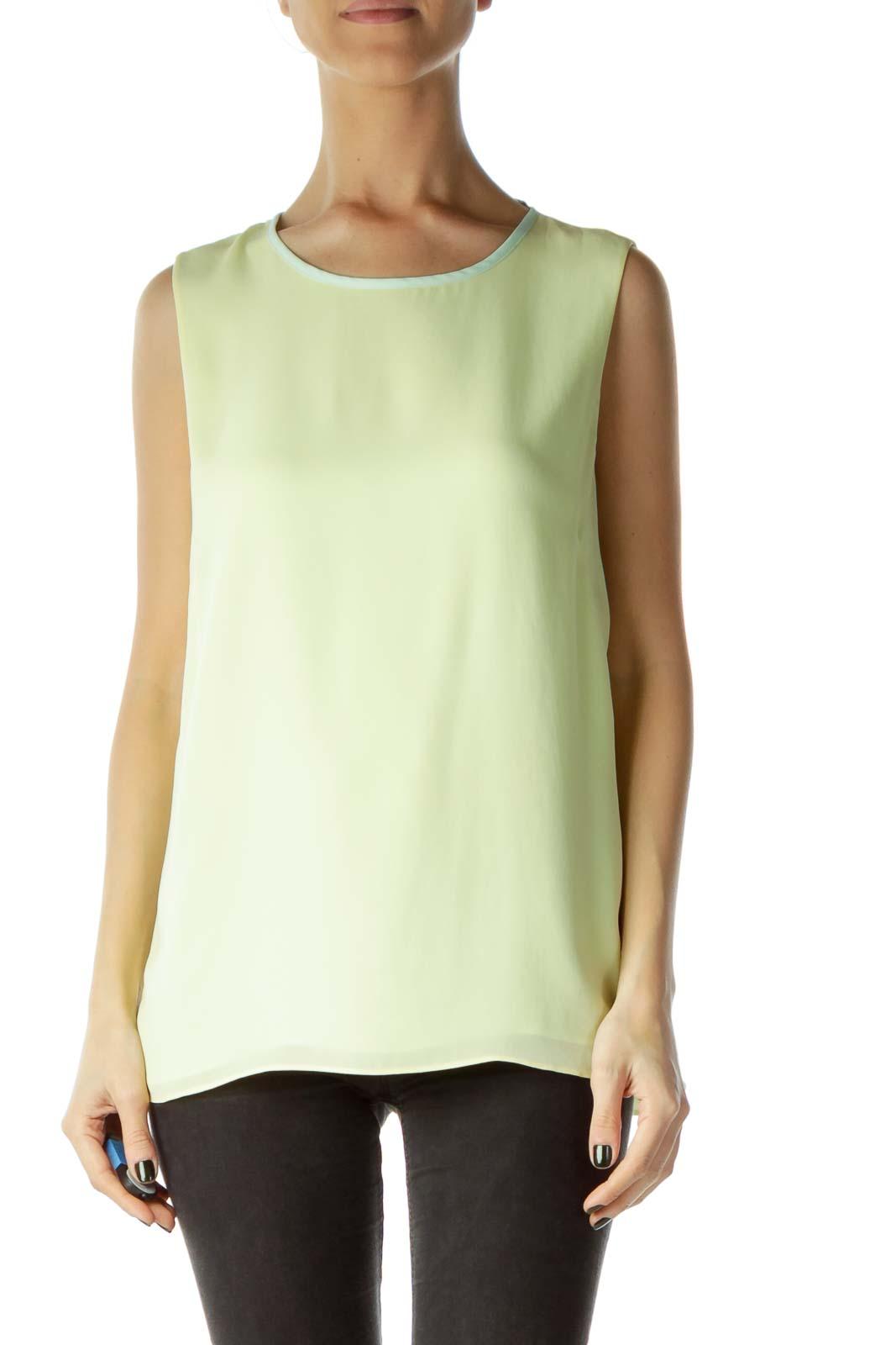 Yellow Green Sleeveless Blouse