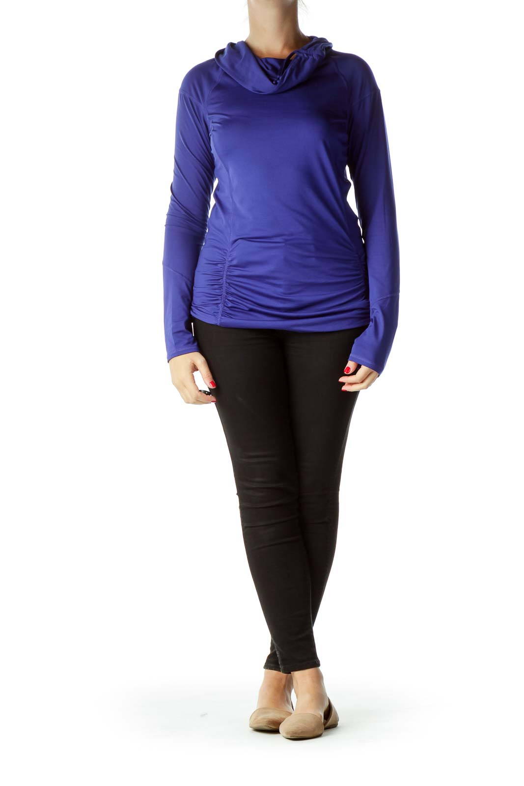 Blue Cowl Neck Activewear Top