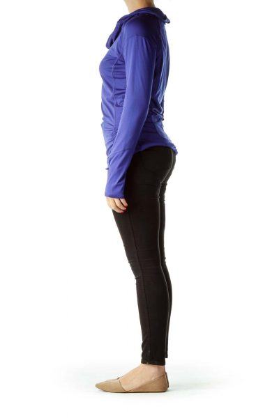 Blue Cowl Neck Activewear Top