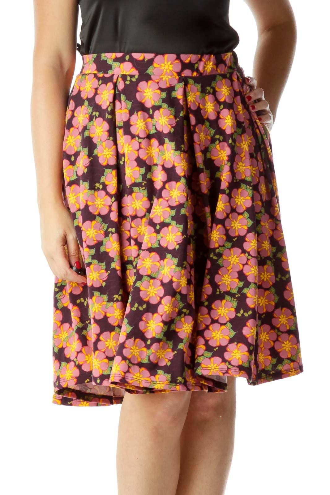 Pink Purple Flower Print Flared Skirt
