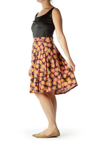 Pink Purple Flower Print Flared Skirt