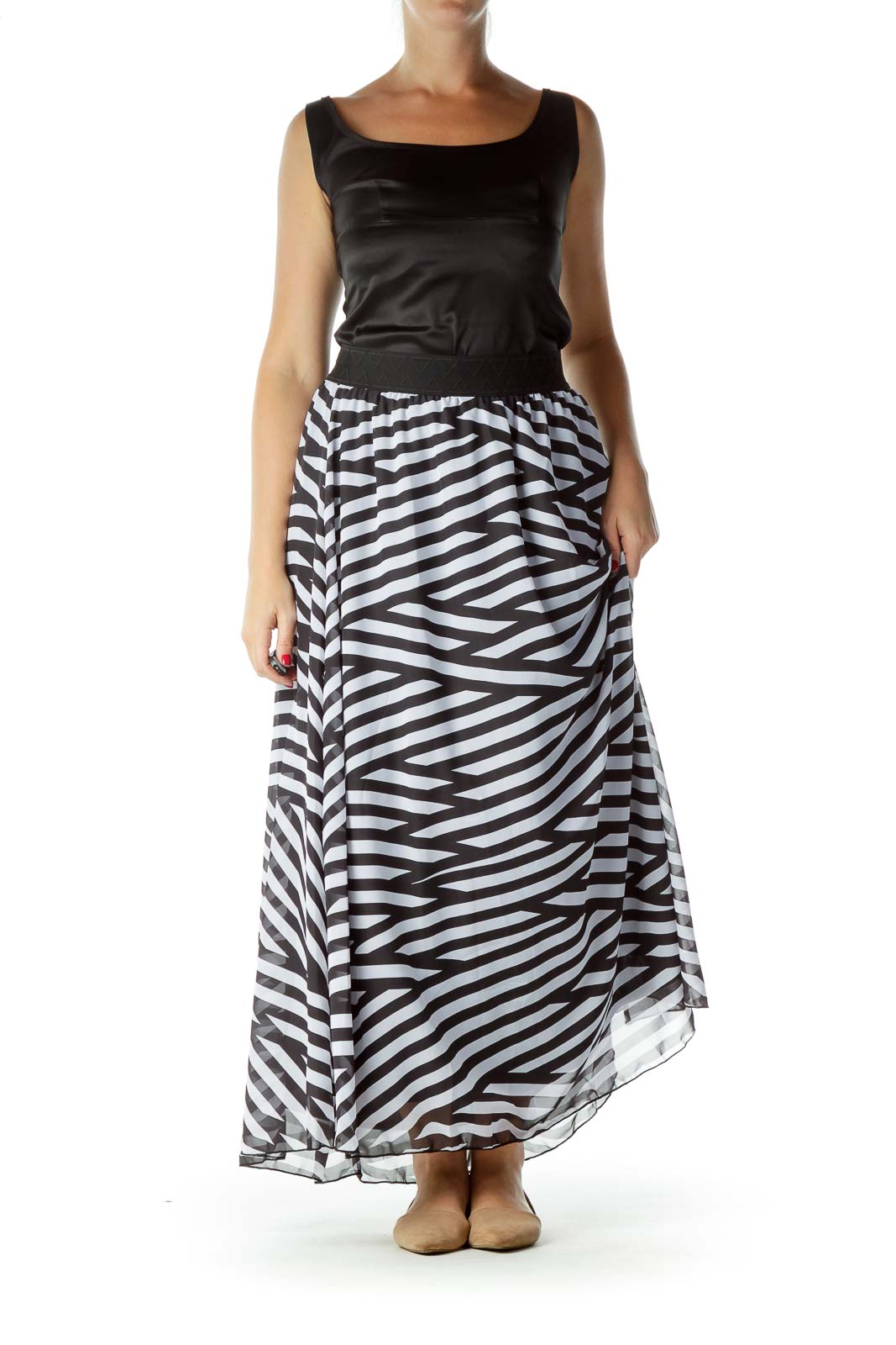 Black White Striped Maxi Dress