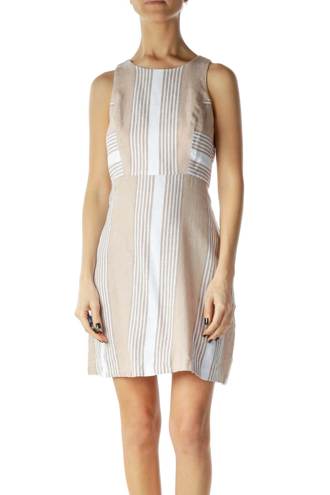 Beige White Linen Striped Day Dress