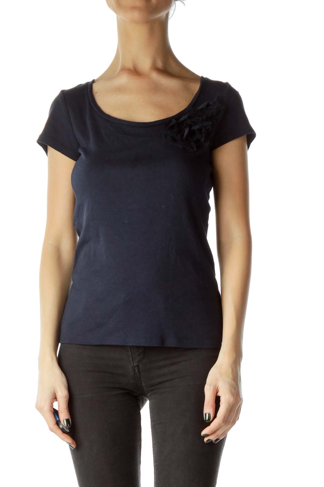 Navy T-Shirt with Ruffle Flower