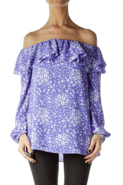 Purple Flower Print Off Shoulder Ruffle Blouse