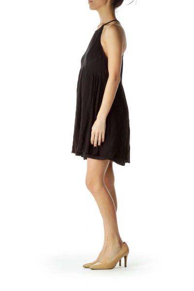 Black Racerback Linen Day Dress