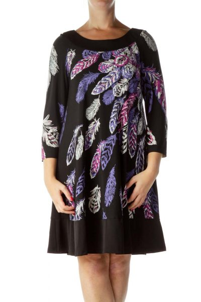 Black Purple Feather Print Long Sleeve Dress