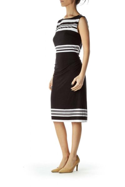 Black White Striped Day Dress