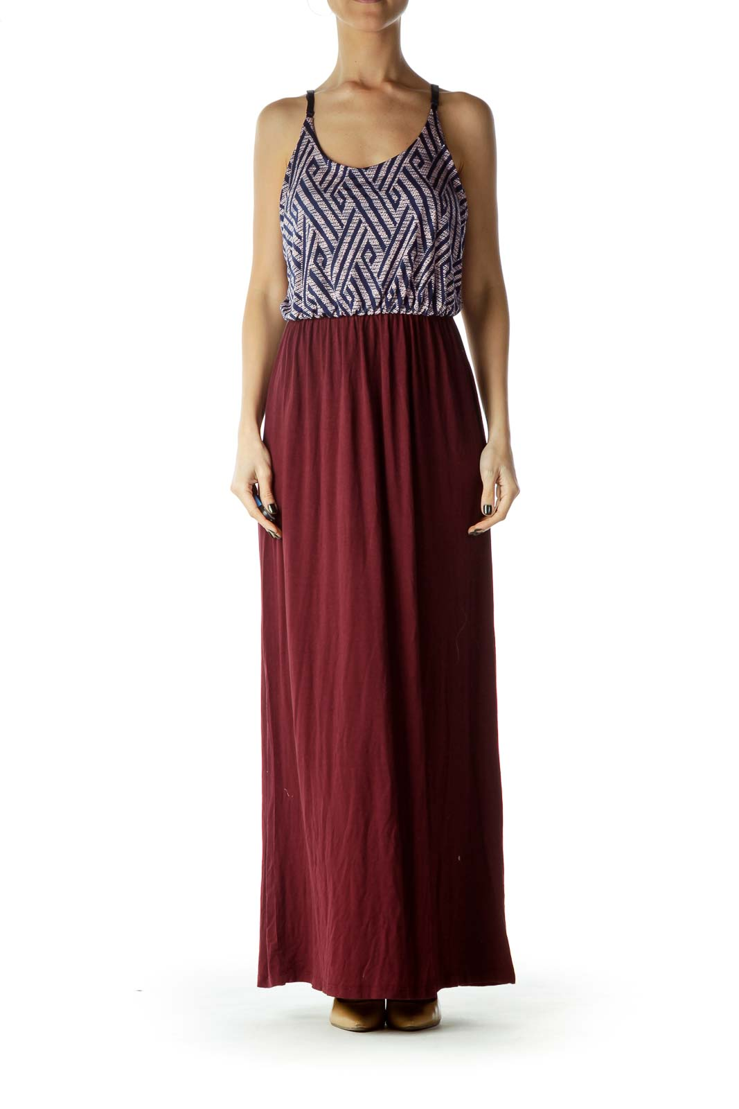 Purple Black Print Top Maxi Dress
