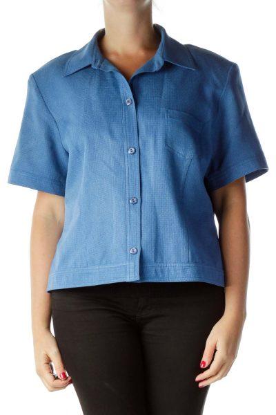 Blue Short Sleeve Suit Jacket