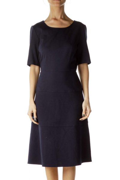 Navy Round Neck Empire Waist Dress