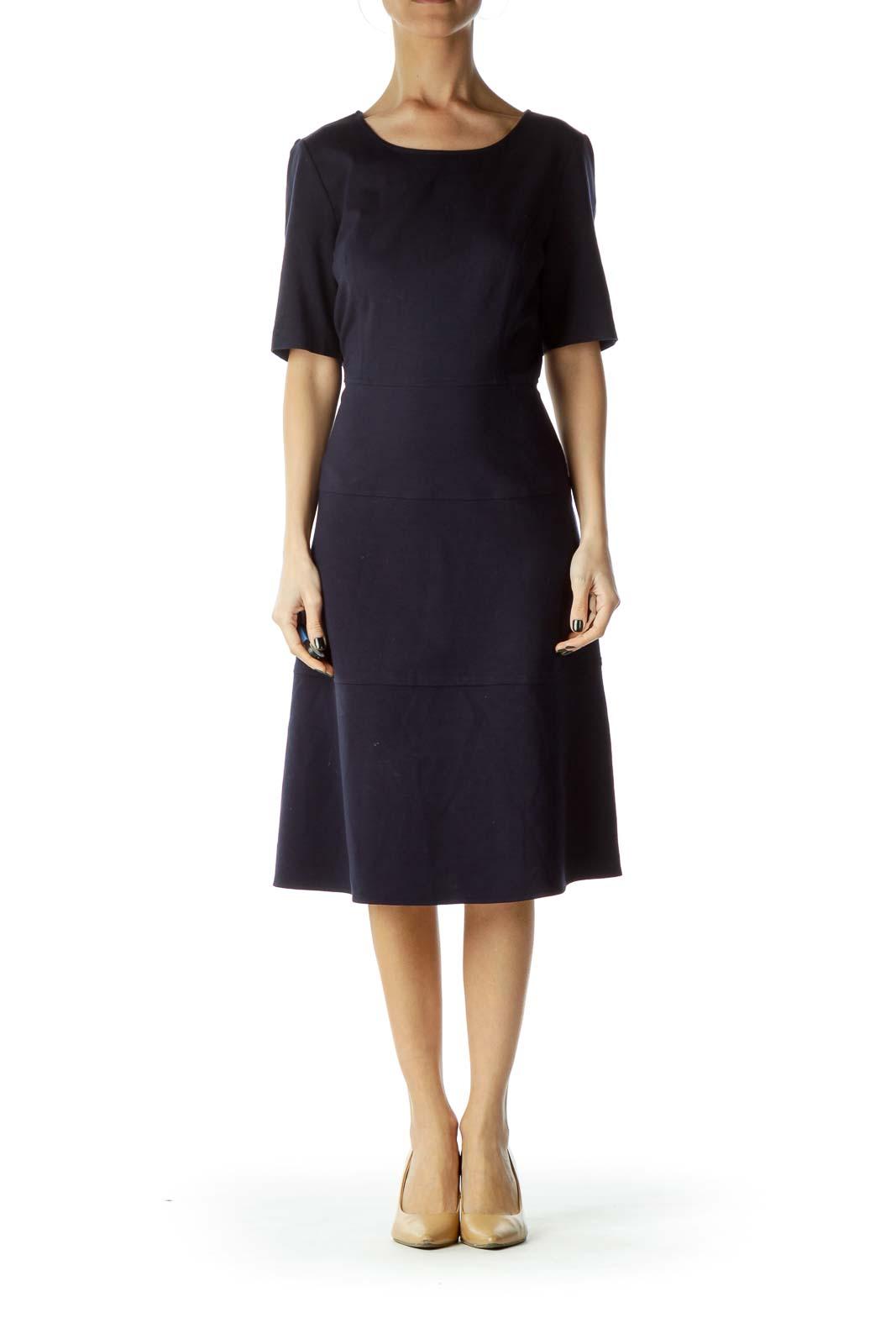 Navy Round Neck Empire Waist Dress