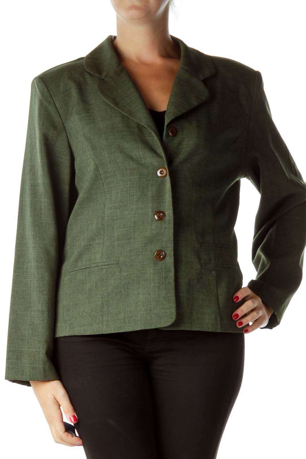 Green Textured Suit Jacket