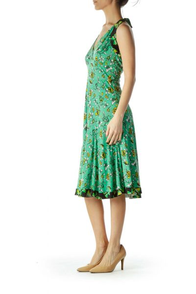 Green Printed Halter Day Dress