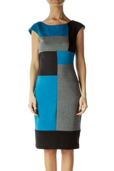 Gray Blue Color Block Sheath Dress