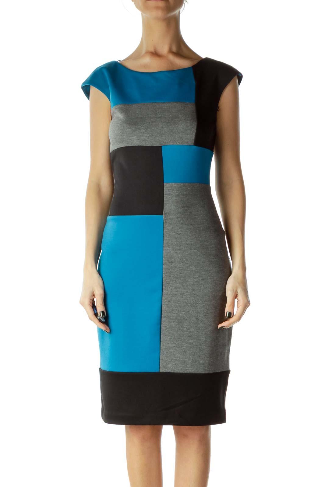 Gray Blue Color Block Sheath Dress
