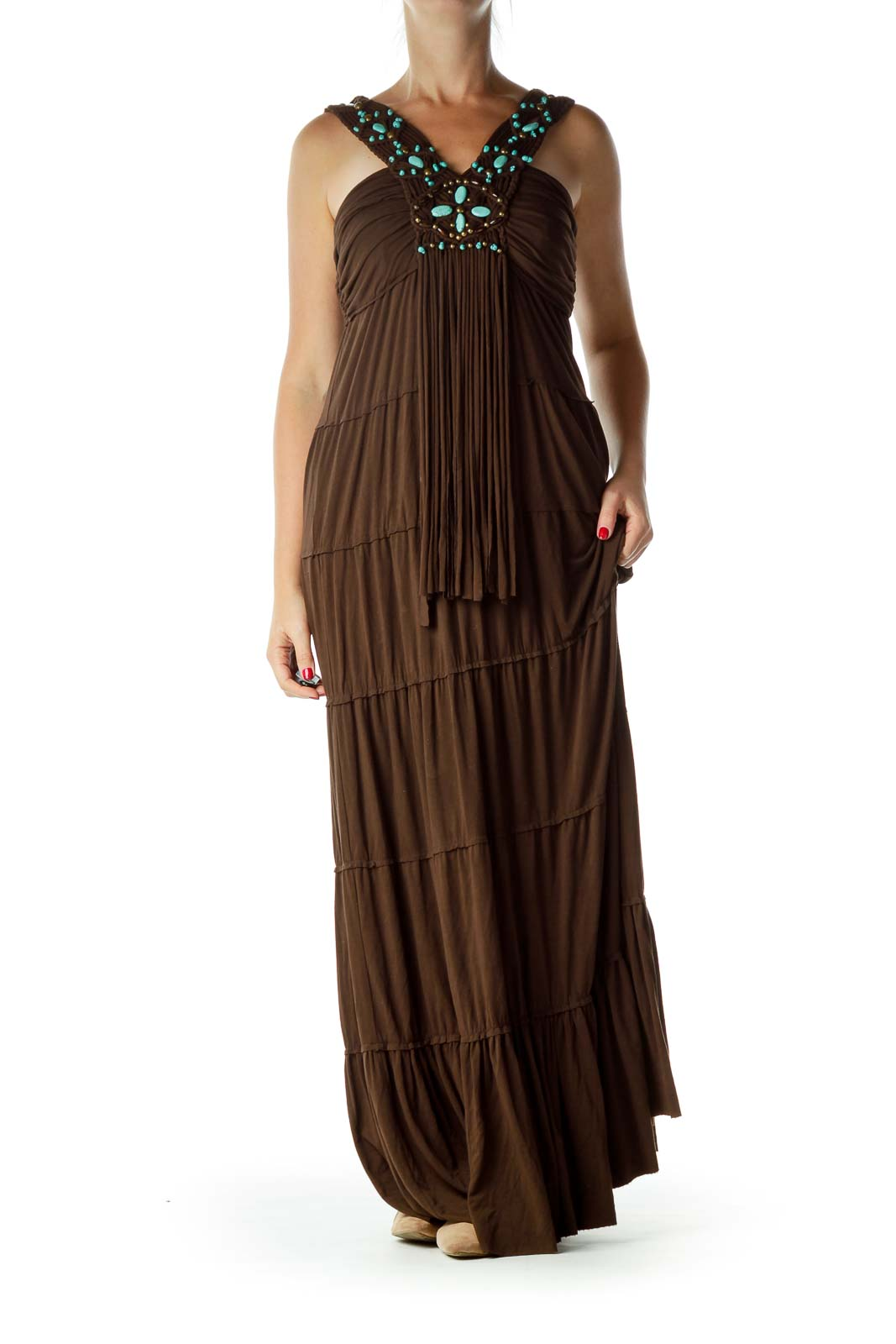 Brown Blue Beaded Braided Maxi Dress