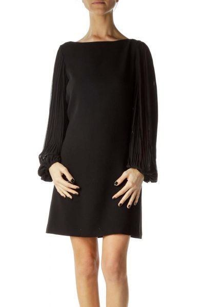 Black Sheer Long Sleeve Shift Dress