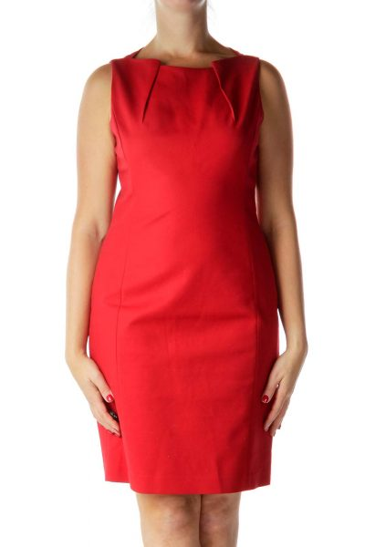 Red Boat Neck Work Dress