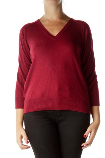 Red 3/4 Sleeve Sweater