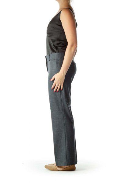 Blue Mottled Straight-Leg Slacks