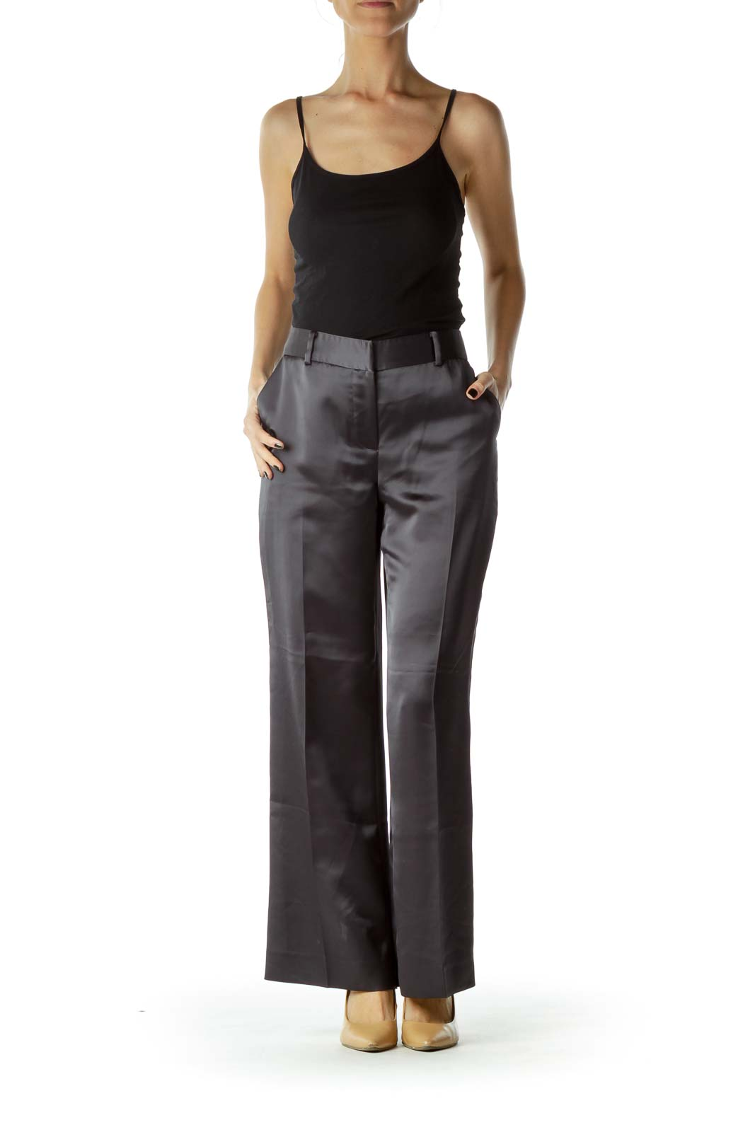 Black Faux-Silk Straight-Leg Pants