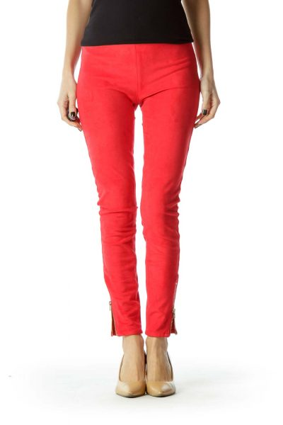 Red Zippered Faux-Suede Leggings