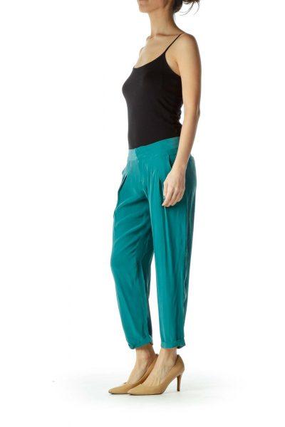 Green Loose Faux-Silk Pants
