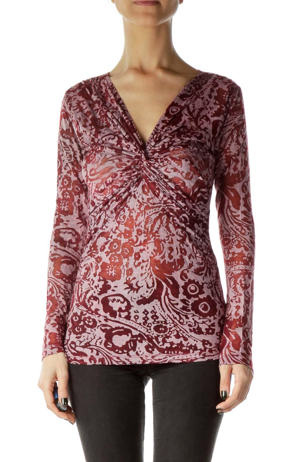 Red Sheer Printed Long Sleeve top