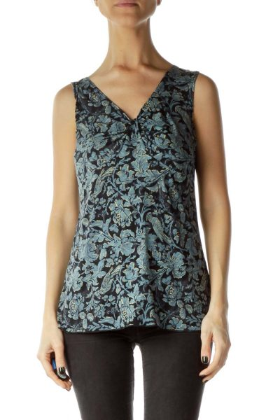 Blue Printed Sleeveless Top