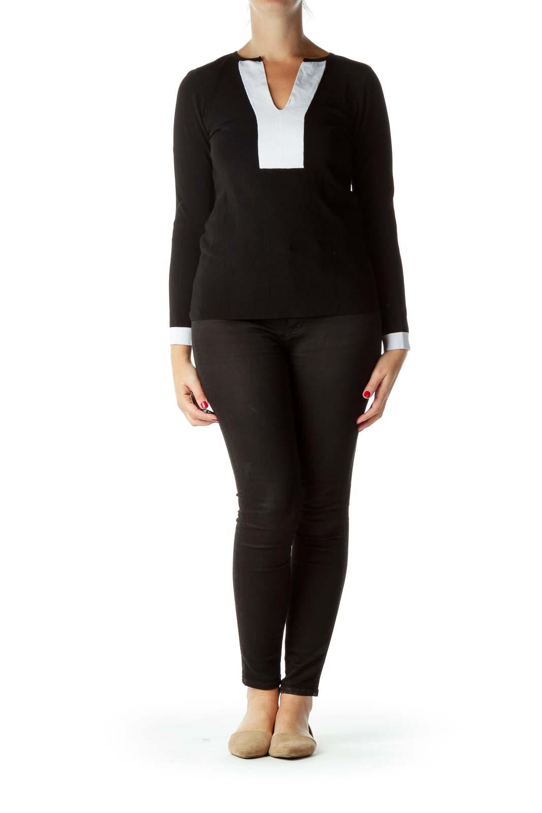 Black Color Block Knit Top
