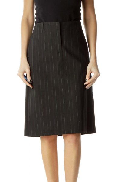 Black Green Pinstripe Pencil Skirt